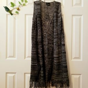 New Directions fringed Long Cardigan